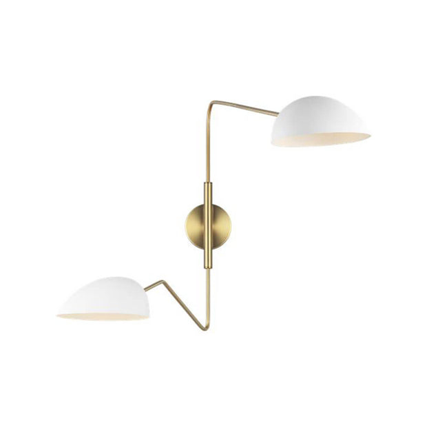 The London Wall Sconce with matte white glass shades and antique brass arms.