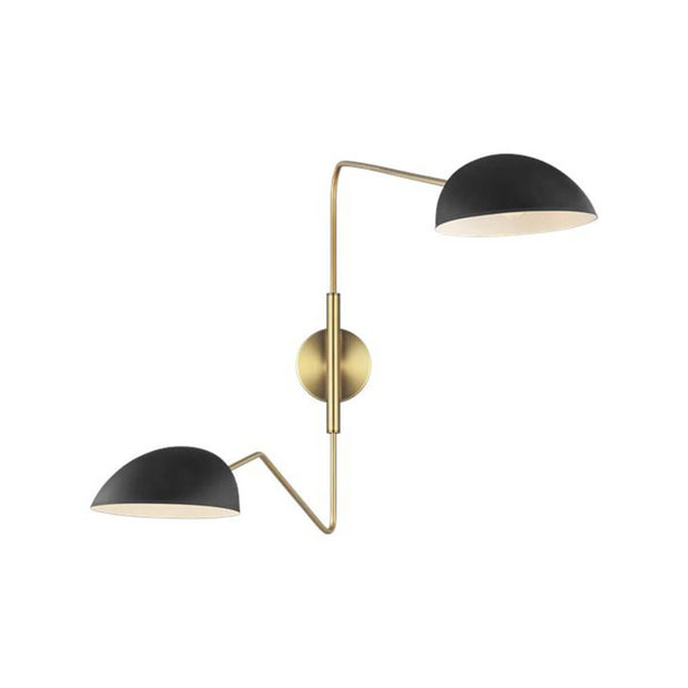 The London Wall Sconce with midnight black glass shades and antique brass arms.