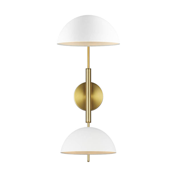 Minimal wall light with antique brass arms and white glass lamp shades.