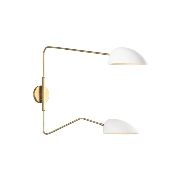 Minimal wall sconce with adjustable upper and lower lamp shades in a white glass finish.