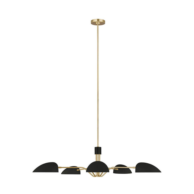 London Chandelier with a burnished brass body and midnight black shades.