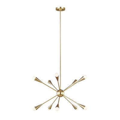 Vegas Chandelier Medium. Starburst chandelier in a burnished brass finish with linear metal bars.