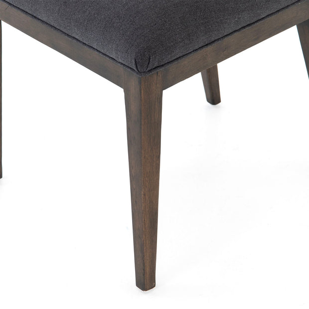 Dark wood frame on dining chair.