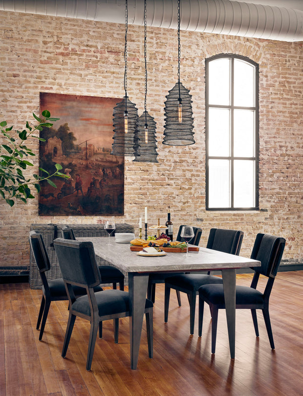 Blue winged dining chairs at a rectangular table. Formal dining chair.