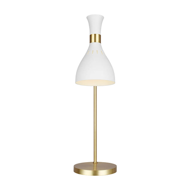 Modern table lamp in a matte white finish and a fluted, steel lamp shade.