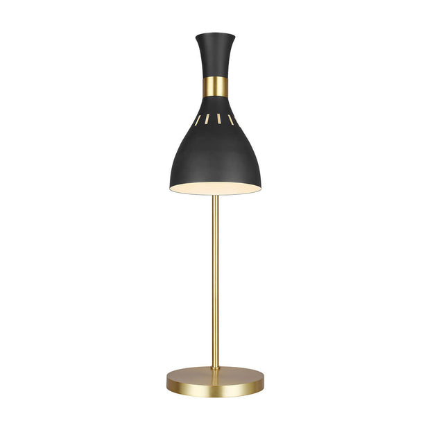 Midnight black table lamp with brass hardware and a modern, industrial look.
