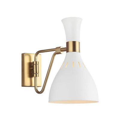 The Irvine Wall Sconce has a matte white finish and antique brass backplate, arm and cuff detail.