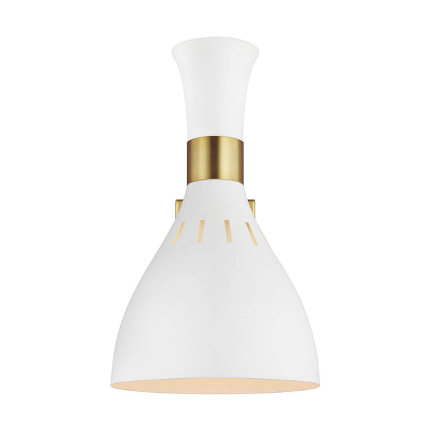 Sleek matte white office wall sconce with brass details and a coned shape.