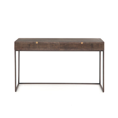 Iron and mango wood desk with bohemian detailing.