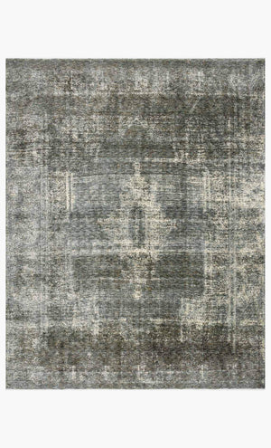 Blue and grey toned polyester rug.