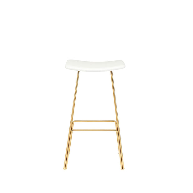 The La Fontaine Counter Stool has a white leather seat with a slim tubular base in a polished gold finish.