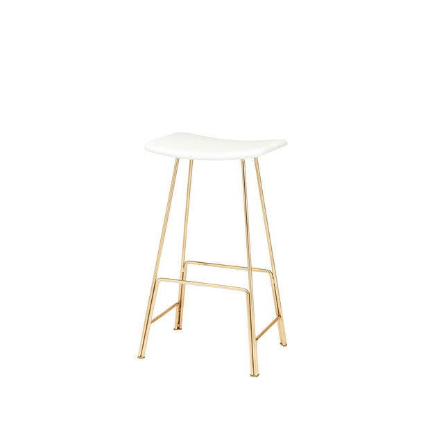 Modern, backless stool with a white leather seat and gold legs.