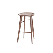 Classic backless bar stool made from solid wood with a curved seat and long, straight legs.