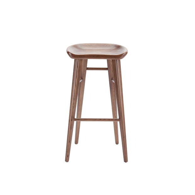 The Camrose Bar Stool is simple and elegant and is made of solid wood with a curved seat and long, straight legs.