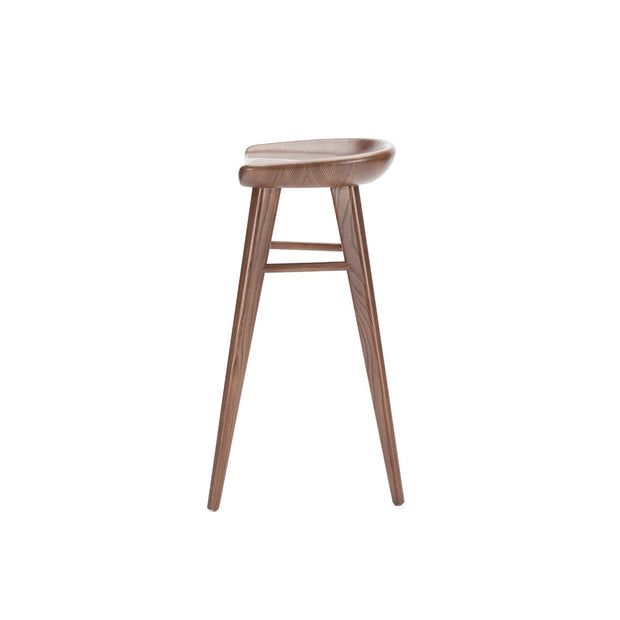 Side view of the curved seat and triangular legs on the simple backless bar stool.