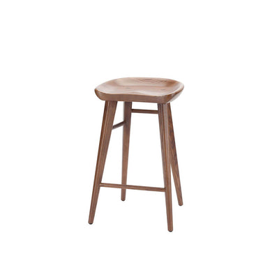 Classic backless counter stool made from solid wood with a curved seat and long, straight legs.