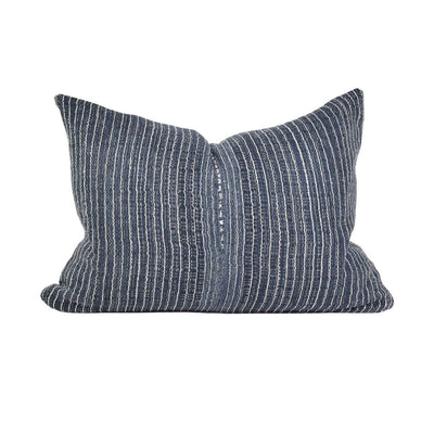 The Myanmar Pillow is dark blue striped, handwoven pillow.