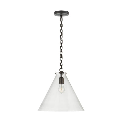 The Katie Conical Pendant shows off the light bulb through its clear glass shade which contrasts against the bold bronze chain and base.