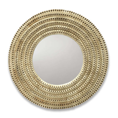 The Destin Mirror is a round mirror with woven rattan frame.