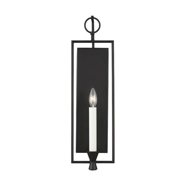 The Aspen Wall Sconce has an aged iron finish and a traditional candle light look.