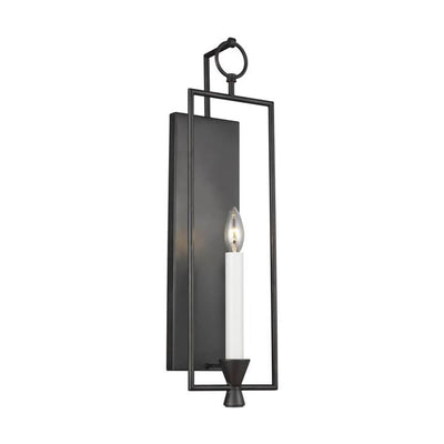 Traditional candelabra wall sconce in an antique iron finish.