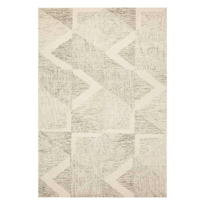 Geometric patterned rug with neutral tones, made of wool.