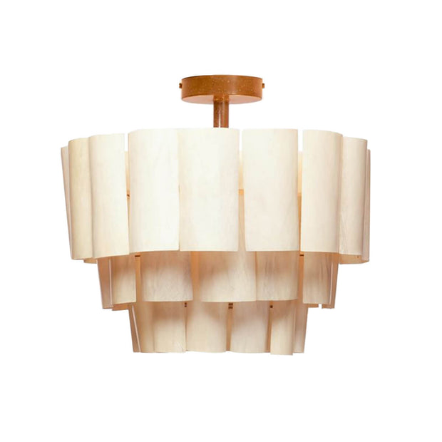 Kingston Semi-Flush Mount. An opaque off-white tiered chandelier handmade from organic banana bark and resin-coated for durability.