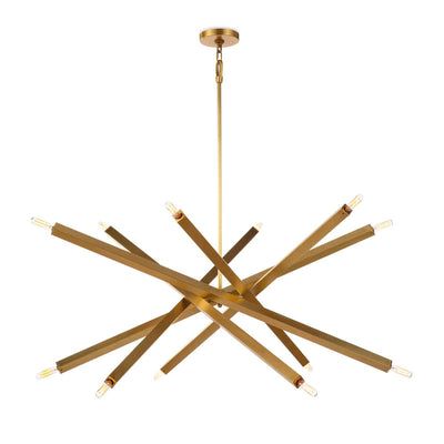 A natural brass, geometric chandelier with adjustable arms. Shown with arms adjusted to open position.