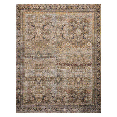 Garda Olive / Charcoal Rug. Traditional design rug. Neutral patterned rug.