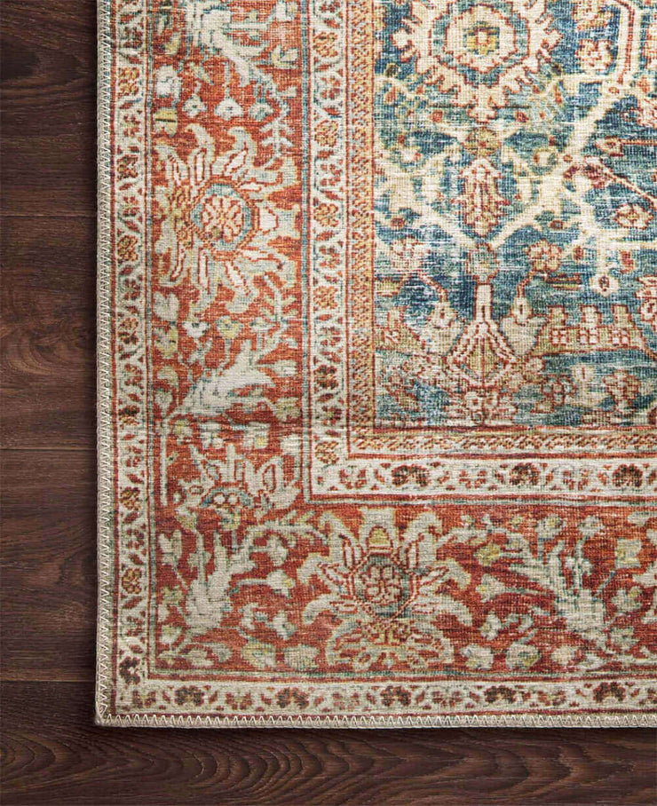 Garda Ocean / Rust Rug. Traditional patterned rug. Affordable red and blue rug.