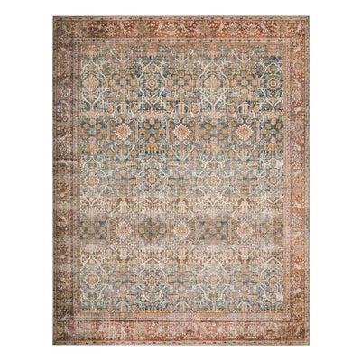 Garda Ocean / Rust Rug. Rust and blue rug. Traditional patterned rug.
