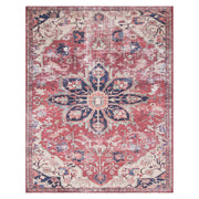 Florence Rust / Ivory Rug. Red and blue patterned rug. Affordable Turkish rug.