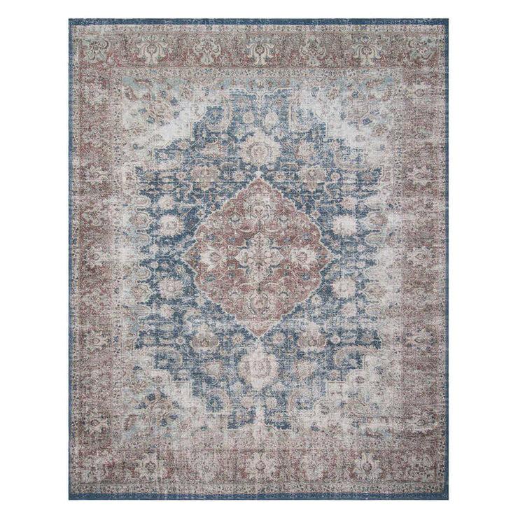 Florence Denim / Terracotta Rug. Red and blue Turkish rug. Durable, patterned rug.