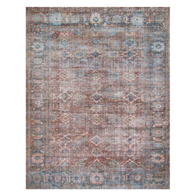 Florence Brick / Ocean Rug. Red and blue patterned rug. Durable rug.