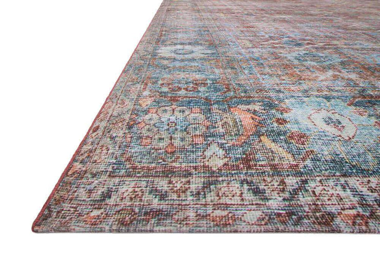 Colours and pattern of the Florence Brick / Ocean Rug. Red and blue Turkish rug. Affordable and durable rug.