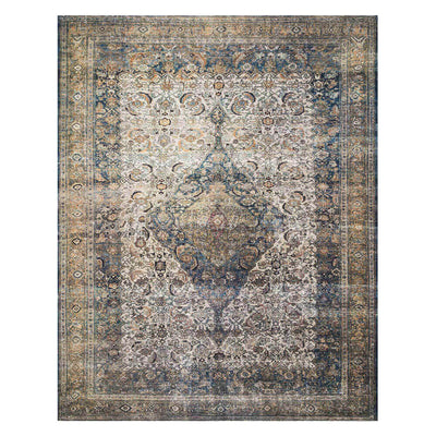 Florence Ivory / Multi Rug. Blue, gold and brown rug. Durable patterned rug.