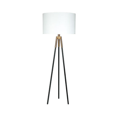The Ocala Floor Lamp has black tripod legs with brass details and a white drum-shaped shade for a modern design.