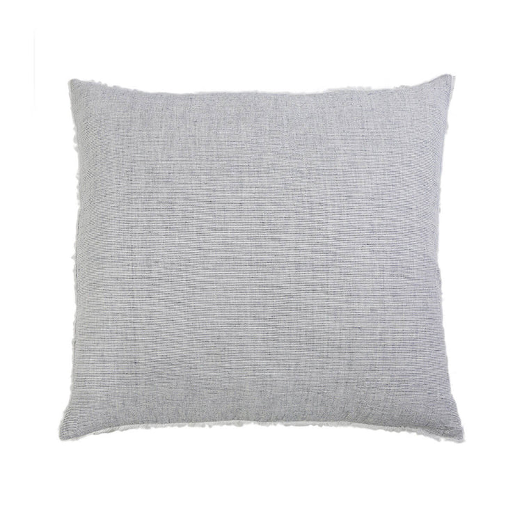 Navy linen square pillow sham with frayed edge details.