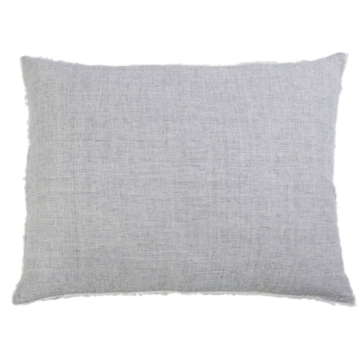 Rectangular pillow sham made from navy linen with frayed edge details.