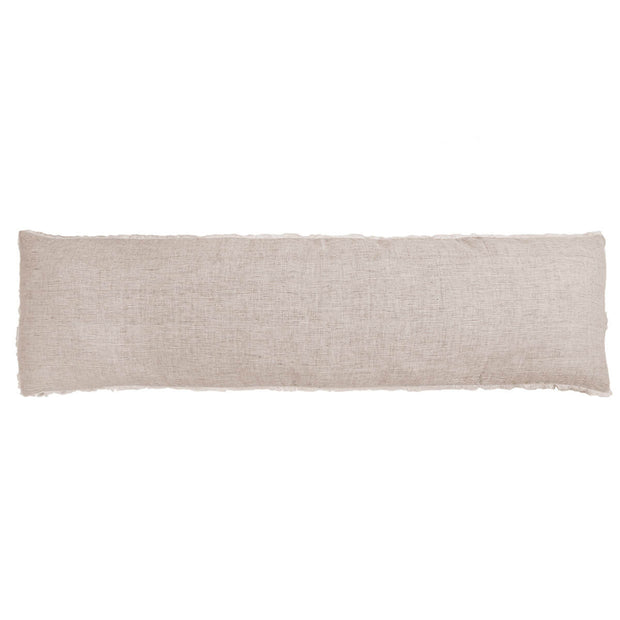 The Oaxaca Body Pillow - Terra Cotta is a soft linen body pillow with frayed edges.