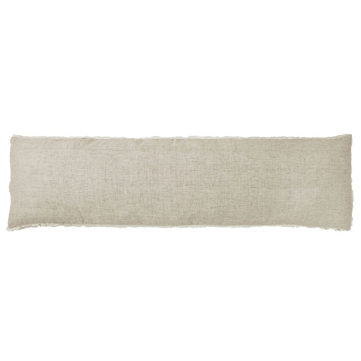 The Oaxaca Body Pillow - Olive is a soft linen body pillow with frayed edges.