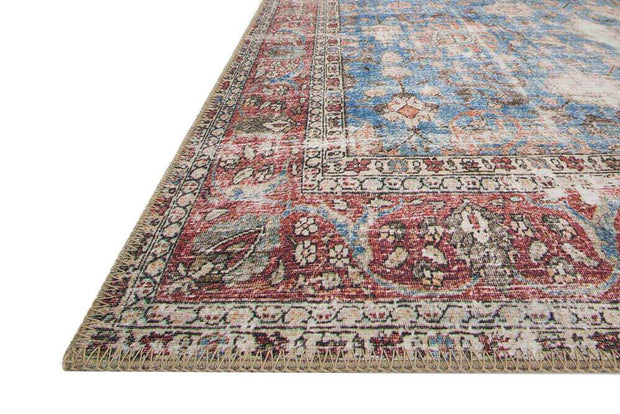 Colours and pattern of the Lille Blue / Brick Rug. Dark red and blue Turkish rug.