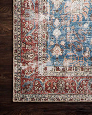 Red and blue rug. High traffic area rug. Vintage looking rug.