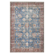 Lille Blue / Brick Rug. Blue and dark red Turkish rug. Affordable rug.