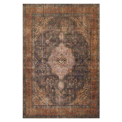 Plum and rust coloured polyester rug that looks vintage inspired.