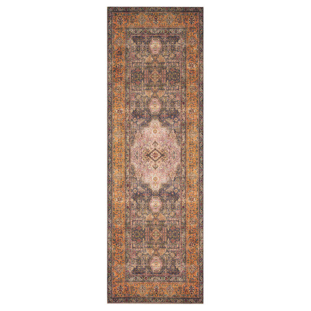Lille Plum / Multi Runner. Plum and rust coloured runner that has a vintage inspired look.