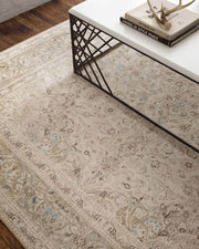 Vintage inspired neutral rug in a high traffic area.