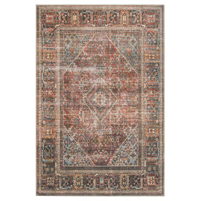 Lillie Brick and Midnight Rug. Dark red and blue rug with a vintage inspire look.