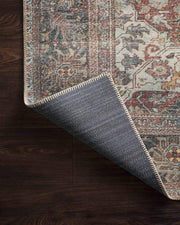 Cotton canvas backing on the Lille Brick / Multi Rug. Rug with cotton canvas backing.