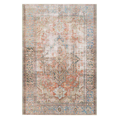 Lille Terracotta and Sky Rug. Red and blue polyester rug with a vintage inspired look.